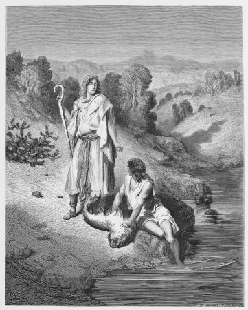 Tobias and the Angel Raphael - Picture from The Holy Scriptures, Old and New Testaments books collection published in 1885, Stuttgart-Germany. Drawings by Gustave Dore. Stock Photo - 16284928