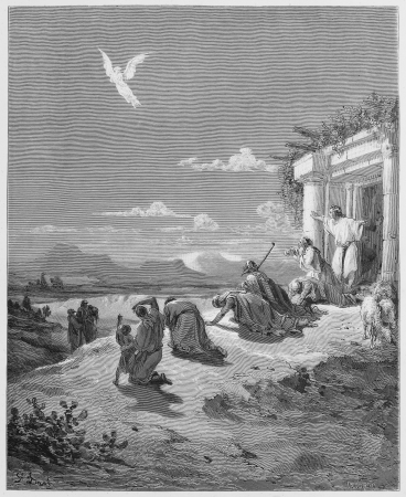 testaments: The Angel Raphael and the Family of Tobit - Picture from The Holy Scriptures, Old and New Testaments books collection published in 1885, Stuttgart-Germany. Drawings by Gustave Dore.