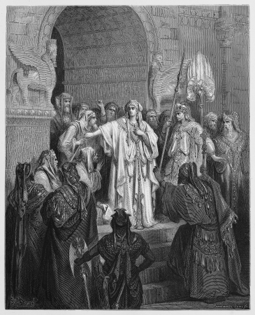 testaments: Queen Vashti refusing to obey the command of Ahasuerus - Picture from The Holy Scriptures, Old and New Testaments books collection published in 1885, Stuttgart-Germany. Drawings by Gustave Dore.