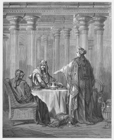biblical: Queen Esther in the Kings Court defending her people - Picture from The Holy Scriptures, Old and New Testaments books collection published in 1885, Stuttgart-Germany. Drawings by Gustave Dore.