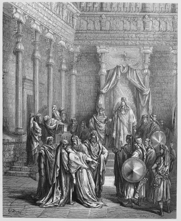historical periods: Esther before the King - Picture from The Holy Scriptures, Old and New Testaments books collection published in 1885, Stuttgart-Germany. Drawings by Gustave Dore. Editorial