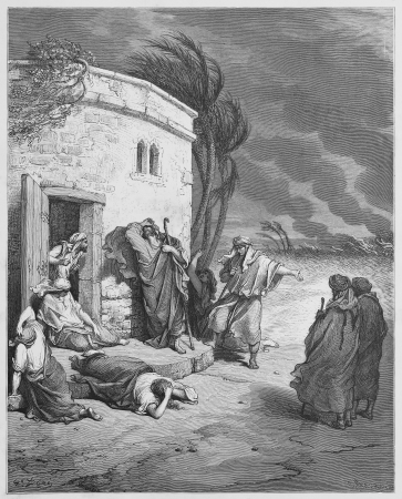 biblical: Job hearing of his ruin - Picture from The Holy Scriptures, Old and New Testaments books collection published in 1885, Stuttgart-Germany. Drawings by Gustave Dore.