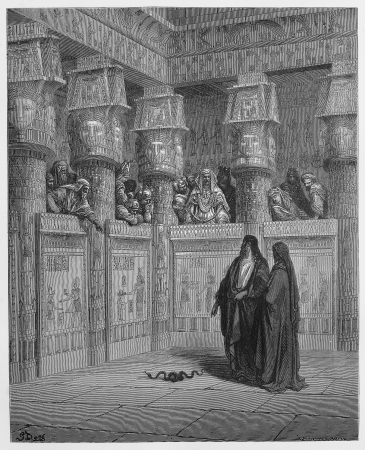 pharaoh: Moses and Aaron appear before Pharaoh - Picture from The Holy Scriptures, Old and New Testaments books collection published in 1885, Stuttgart-Germany. Drawings by Gustave Dore.