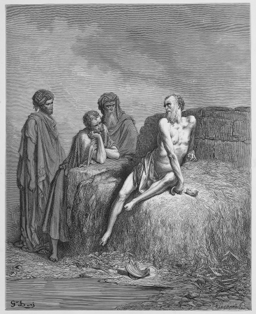 Job and his friends - Picture from The Holy Scriptures, Old and New Testaments books collection published in 1885, Stuttgart-Germany. Drawings by Gustave Dore.