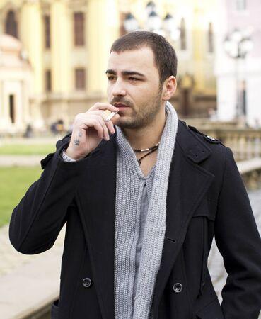 habbit: Smoking young man portrait
