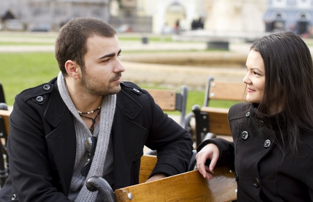 Young couple talking photo