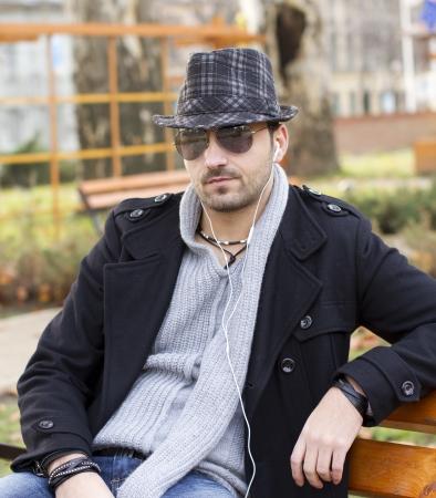 fit man: City boy with headphones Stock Photo