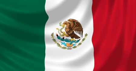mexico flag: Flag of Mexico waving in the wind detail