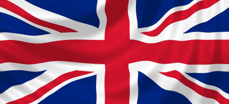 Flag of United Kingdom waving in the wind detail photo