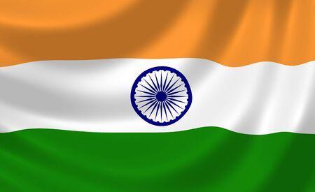 bandera de la india: Bandera de la India ondeando en el viento detalle Foto de archivo