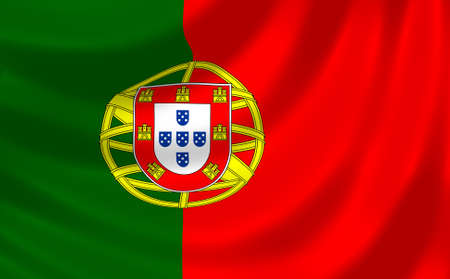 Flag of Portugal waving in the wind detail  photo
