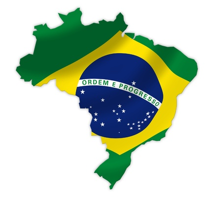 Map of Brazil with waving flag isolated on white  photo