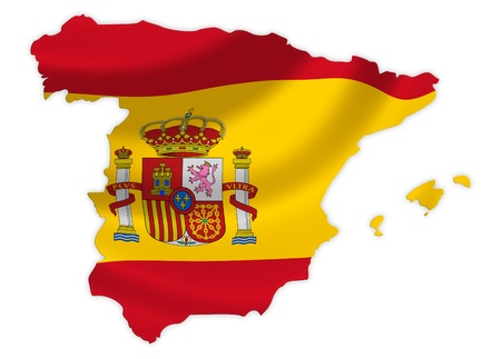 Map of Spain with waving flag isolated on white  photo