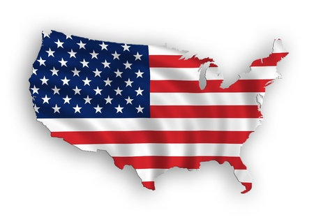 American map flag waving illustration