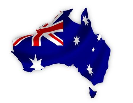 tasmania: Australian Flag in the shape of Australia including Tasmania  Stock Photo