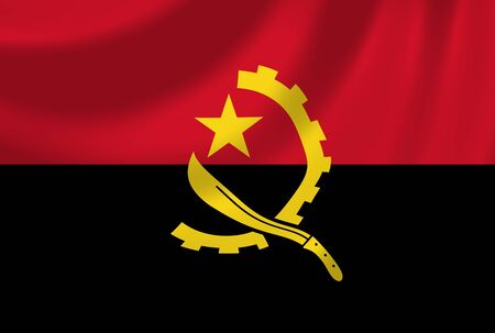 angola: Flag of Angola waving in the wind detail
