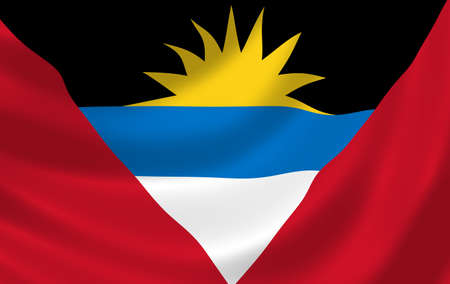 antigua flag: Flag of Antigua and Barbuda waving in the wind detail