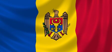 Flag of Moldova waving in the wind detail  photo