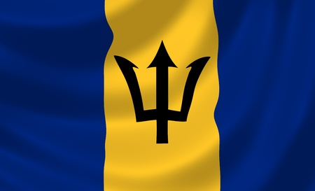 barbados: Flag of Barbados waving in the wind detail  Stock Photo