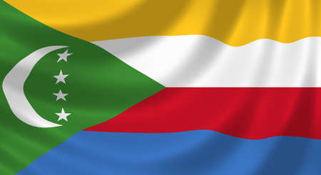 comoros: Flag of Comoros waving in the wind detail