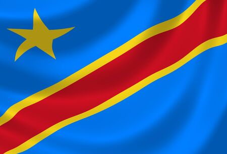 congo: Flag of Congo waving in the wind detail Stock Photo