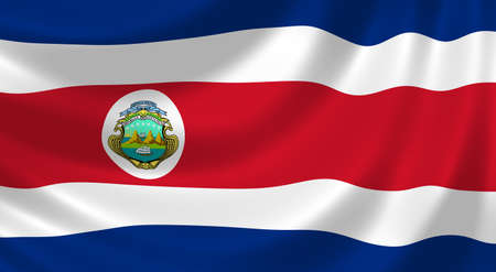 costa rica flag: Flag of Costa Rica waving in the wind detail Stock Photo