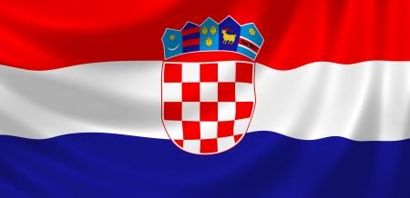 bandera de croacia: Bandera de Croacia ondeando en el viento detalle Foto de archivo