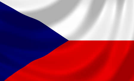 Flag of Czech Republic waving in the wind detail photo