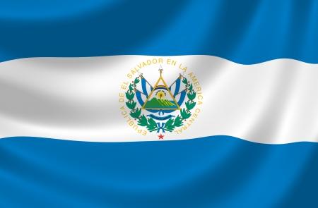 bandera de el salvador: Bandera de El Salvador ondeando en el viento detalle