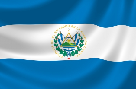 el salvador: Flag of El Salvador waving in the wind detail  Stock Photo