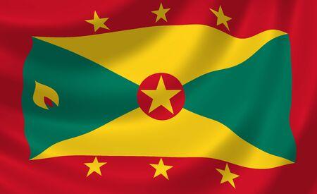 grenada: Flag of Grenada waving in the wind detail