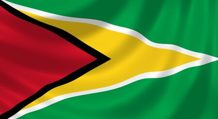 guyan: Flag of Guyana waving in the wind detail
