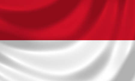 Flag of Indonesia waving in the wind detail  photo