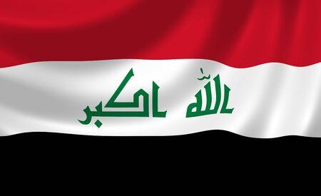 iraq war: Flag of Iraq waving in the wind detail Stock Photo
