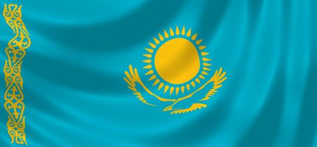 Flag of Kazakhstan waving in the wind detail Stock Photo - 17182529