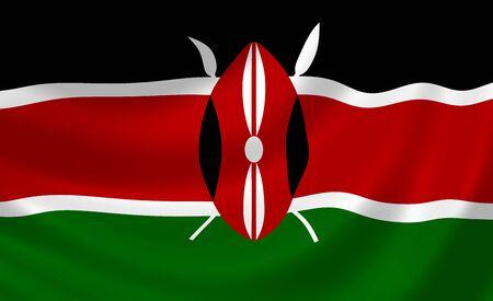 kenya: Flag of Kenya waving in the wind detail