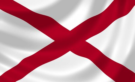 alabama: Flag of Alabama American state waving in the wind detail  Stock Photo
