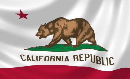 Flag of California American state state waving in the wind detail  photo