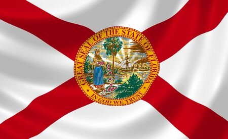 florida state: Flag of Florida American state waving in the wind detail  Stock Photo