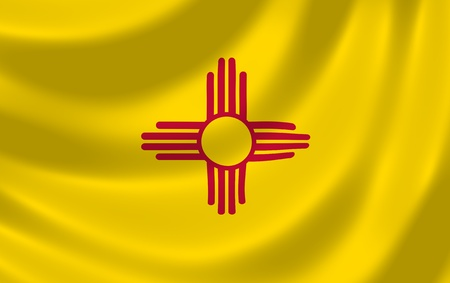 Flag of New Mexico American state waving in the wind detail Imagens