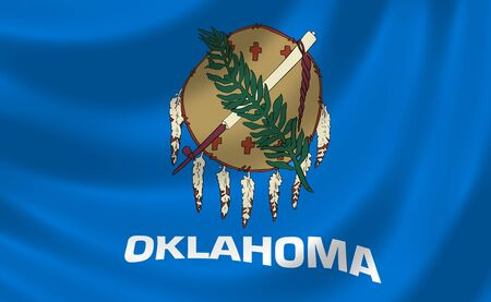 oklahoma: Flag of Oklahoma American State waving in the wind detail