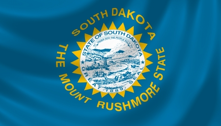 Flag of South Dakota American State waving in the wind detail Stock Photo - 17159290