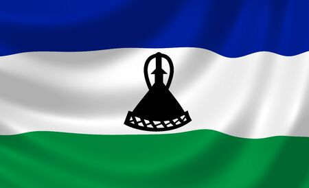 lesotho: Flag of Lesotho waving in the wind detail  Stock Photo