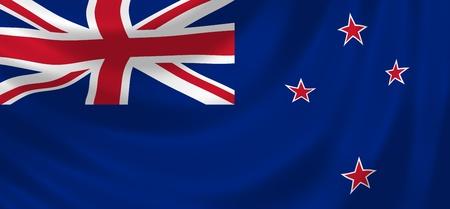 bandera de nueva zelanda: Bandera de Nueva Zelanda ondeando en el viento detalle