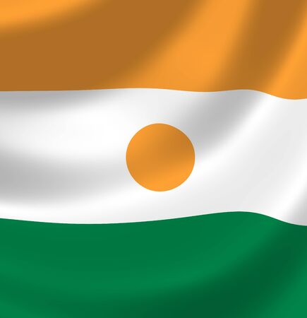 niger: Flag of Niger waving in the wind detail
