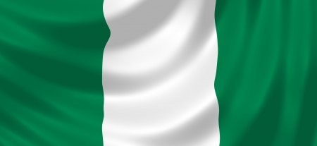 nigeria: Flag of Nigeria waving in the wind detail