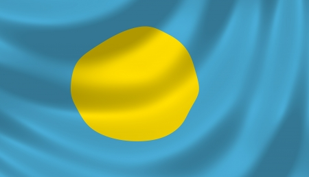 palau: Flag of Palau waving in the wind detail