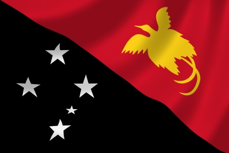 papua: Flag of Papua New Guinea waving in the wind detail