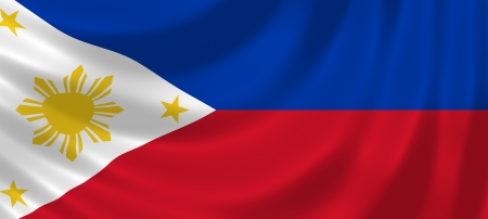 philippines flag: Flag of Philippines waving in the wind detail