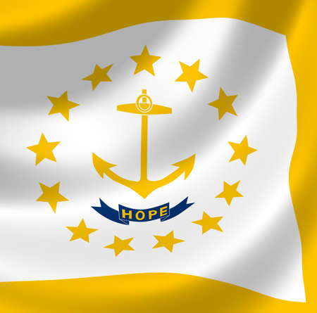 island state: Flag of Rhode Island American State waving in the wind detail  Stock Photo